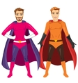 two young men in superhero costume vector image