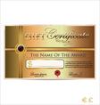 Golden gift certificate vector image