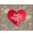 Valentines day calligraphy design on red paper vector