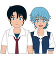 anime boy and girl students with uniform image vector image