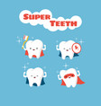 superhero smiling kids teeth characters vector image