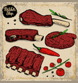 set of beef ribs grilled steak with cherry vector image