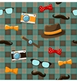 Hipster items on seamless tablecloth vector image