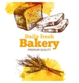 Bakery watercolor and sketch background Vintage vector image