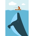 fisherman and huge whale vector image