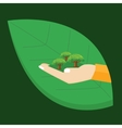 go green hand holding plant tree leaf environment vector image