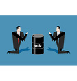 Businessman praying for oil barrels Prayer oil vector image