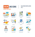 color thin line icons set vector image