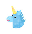 cute cartoon blue magic unicorn head vector image