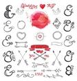 Doodle lettering ampersands Watercolor Decor kit vector image