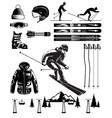 Nordic Skiing Vintage Elements vector image