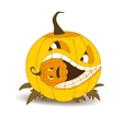 Orange pumpkin with white teeth and a squint vector image
