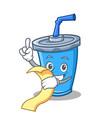 soda drink character cartoon with menu vector image