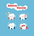 superhero smiling kids teeth characters vector image