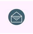 White open envelope icon on blue circle background vector image
