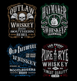 Vintage whiskey label t-shirt graphic set vector