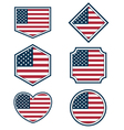 Set of American flags and hearts3 vector image