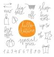 Autumn sale prases and icons vector image