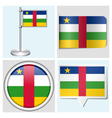 Central African Republic flag - sticker button vector image