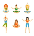 Set with beautiful woman exercising various vector image