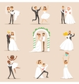 Newlyweds Posing And Dancing On The Wedding Party vector image