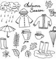 Autumn season set doodles elements Hand drawn set vector image