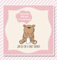 baby girl shower card with little teddy bear vector image