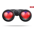 Binoculars with heart on lens vector image