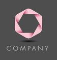 Pink hexagon ribbon logo vector image