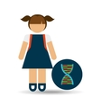 girl student laboratory dna icon vector image