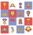 Award icons set flat line vector image vector image