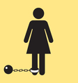 Bathroom woman icon with ball and chain silhouette vector image