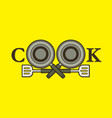cook font design with pan and spatula vector image