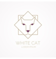 Linear insulated cat logo on a white background vector image