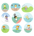 sport kids doodle collection vector image vector image
