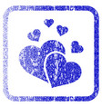 lovely hearts framed textured icon vector image