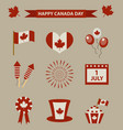 happy canada day icon set design elements vector image