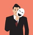 Fake businessman holding a smile mask vector image