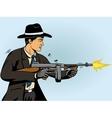 Gangster shoots machine gun pop art vector image