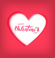 paper art of happy valentines day on red heart vector image