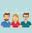 portrait of medical team wearing colorful scrubs vector image