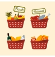 Shopping basket set with foods vector image