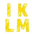 Diamond letters I K L M vector image