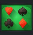 casino poker icons on green carpet vector image