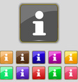 Information Info icon sign Set with eleven colored vector image