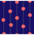 Red Flower Vine Dark Blue Background vector image