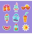 Summer Beach Holidays Stickers With Text vector image