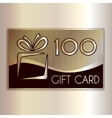 abstract gift card for one hundred in gold vector image