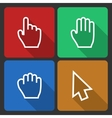 Hand Cursors Icons with Long Shadow vector image