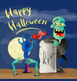 happy halloween poster with zombie vector image